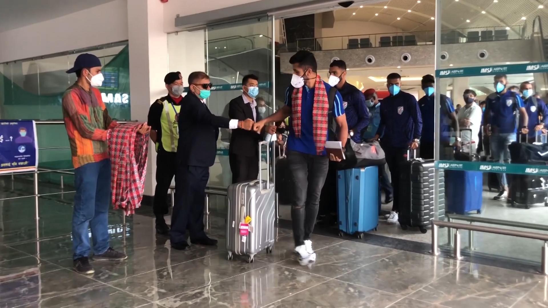 नेपालसँग दुई मैत्रिपूर्ण खेलका लागि भारतीय टोली हिजो नेपाल आईपुगे